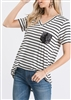ST1567-20 SEQUIN POCKET STRIPE PRINT TOP 2-2-2