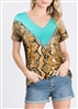 PLUS SIZE - ST1630-13 SOLID AND SNAKE PRINT CONTRAST TOP 2-2-2