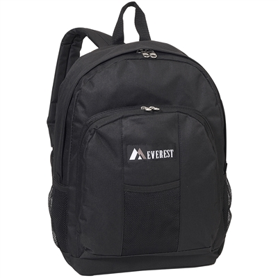 #BP2072-BLACK Wholesale Backpack with Front & Side Pockets - Case of 30 Backpacks
