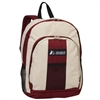 #BP2072-BEIGE/BURGUNDY Wholesale Backpack with Front & Side Pockets - Case of 30 Backpacks