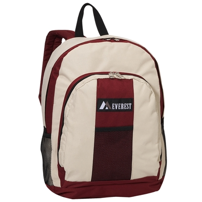 #BP2072-BEIGE/BURGUNDY Wholesale Backpack - Case of 30