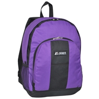 #BP2072-PURPLE Wholesale Backpack with Front & Side Pockets - Case of 30 Backpacks