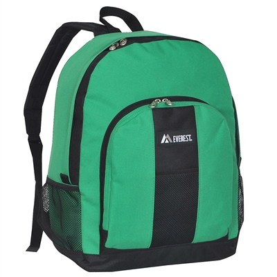 #BP2072-EMERALD GREEN Wholesale Backpack with Front & Side Pockets - Case of 30 Backpacks