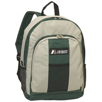 #BP2072-GRAY/GREEN Wholesale Backpack with Front & Side Pockets - Case of 30 Backpacks