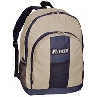 #BP2072-KHAKI/NAVY Wholesale Backpack with Front & Side Pockets - Case of 30 Backpacks