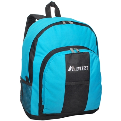 #BP2072-TURQUOISE Wholesale Backpack with Front & Side Pockets - Case of 30 Backpacks