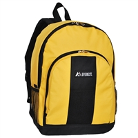 #BP2072-GOLD YELLOW Wholesale Backpack with Front & Side Pockets - Case of 30 Backpacks