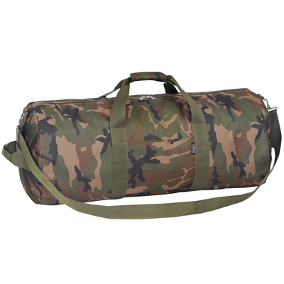 Green 23inch Camo Rounded Duffel Bag Polyester Camouflage Pattern