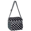 #CB6P-BLACK/WHITE DOT Wholesale Cooler / Lunch Pattern Bag - Case of 20
