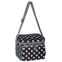 #CB6P-BLACK/WHITE DOT Wholesale Cooler / Lunch Pattern Bag - Case of 20 Lunch Bags