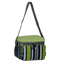 #CB6P-LIME/NAVY STRIPE Wholesale Cooler / Lunch Pattern Bag - Case of 20 Lunch Bags