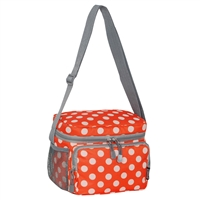 #CB6P-ORANGE/WHITE DOT Wholesale Cooler / Lunch Pattern Bag - Case of 20 Lunch Bags