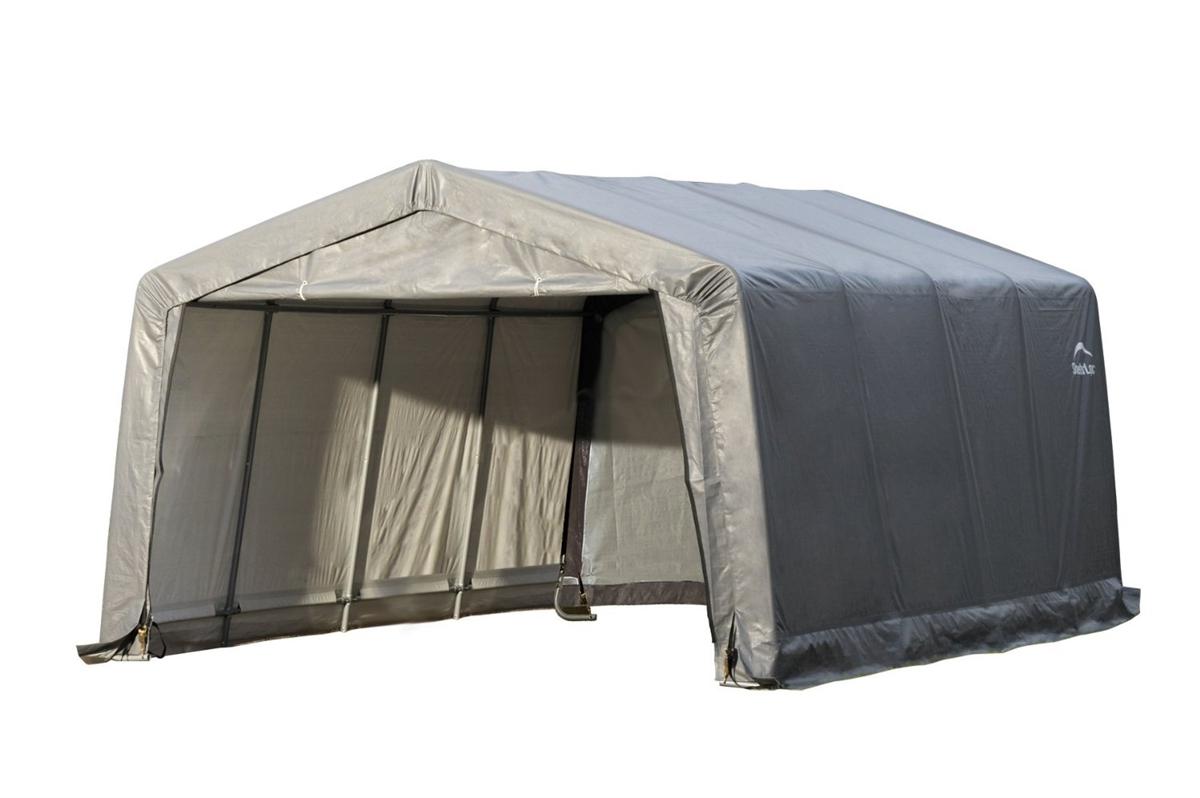 Shelterlogic Peak Style Grey Auto Shelter 1 38 Inch 4 Rib Frame