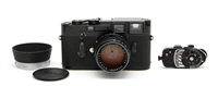 (SOLD) Very Rare Black Paint Leica M3 Camera Body, 50mm f1.4 Summilux Lens, MR Meter