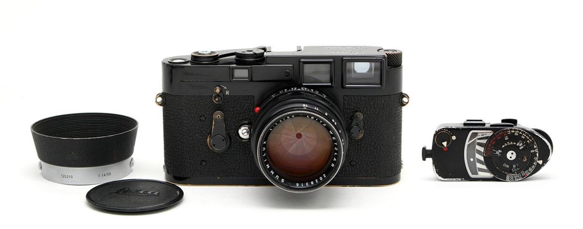 (SOLD) Very Rare Black Paint Leica M3 Camera Body, 50mm f1 4 Summilux Lens,  MR Meter