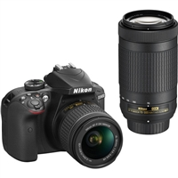 Nikon D3400 DSLR Camera with 18-55mm and 70-300mm Lenses (Black)