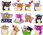 FURBYS EMBROIDERY DESIGNS - PACK 12 FURBIES FURBY COLLECTION