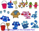 BLUE CLUES EMBROIDERY MACHINE DESIGNS - PACK OF 20 - 4X4 COLLECTION