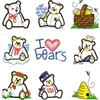 BEARS EMBROIDERY DESIGNS - SET OF 12 MACHINE EMBROIDERY