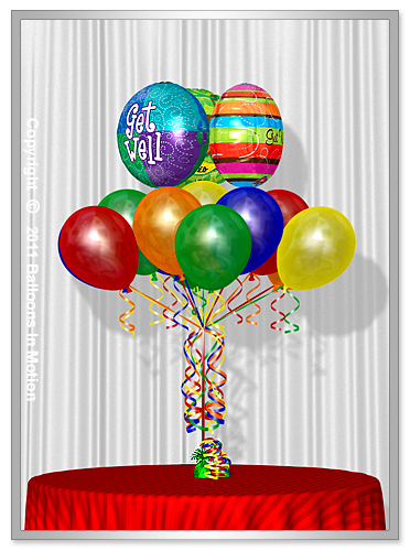 <b>Get Well Balloon Bouquet</b> #6 - (13 Latex & 3 Foil)