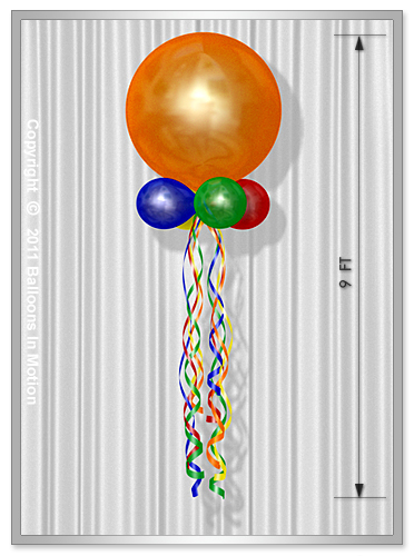 "Single Stacked <b>Balloon Kite</b> (36"" Balloon Topper)"