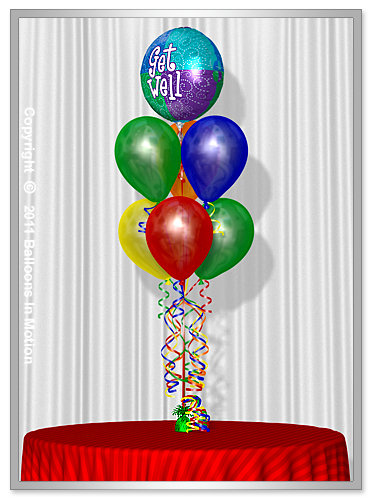 Get Well <b>Balloon Bouquet</b> #2 - (6 Latex & 1 Foil)