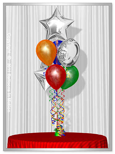 Balloon Bouquet Style  #10  (4 Latex, 2 Foil Stars & 1 Round Foil)