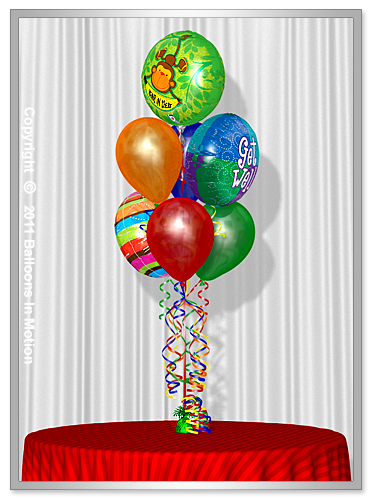 <b>Get Well Balloon Bouquet</b> #3 - (4 Latex & 3 Foil)