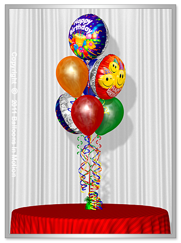 <b>Birthday Balloon Bouquet</b> #5 - (4 Latex & 3 Foil).
