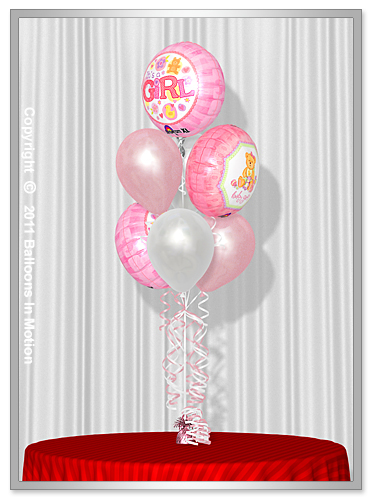 <b>It's A Girl Balloon Bouquet</b> #3 - (4 Latex & 3 Foil)