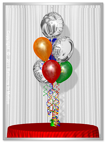 Balloon Bouquet Style #9  (4 Latex, 3 Round Foils)