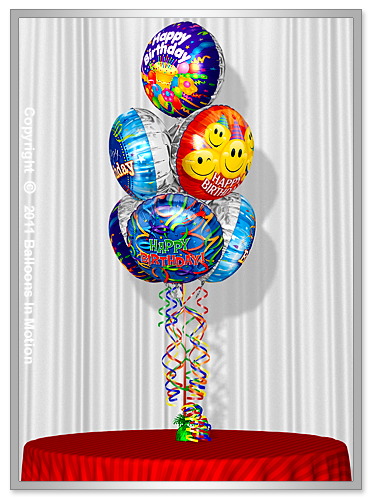 <b>Birthday Balloon Bouquet</b> #6 - (7 Foil Balloons)