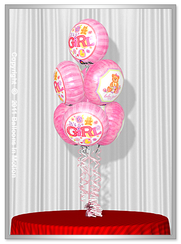 <b>It's A Girl Balloon Bouquet</b> #4 - (7 Foil Balloons)