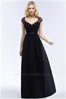 ROSALIA | A-line V-neck Floor Length Lace Chiffon