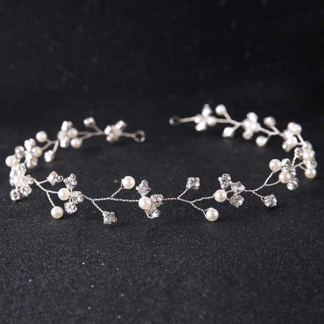 Crystal Wired Hairband with Pearls and Crystal Bead Floral Design