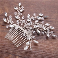 Crystal Wired Comb with Crystal Bead Floral Design