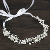 Crystal Wired Hairband with Pearls and Rhinestone Strand Design