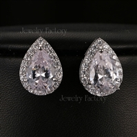 Pear Cut Cubic Zircon Stud Earrings