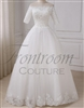 ROSENDA | Elegant Half Sleeves Wedding Dresses Boat Neck Applique Pearls Tulle A-line Bride Dress