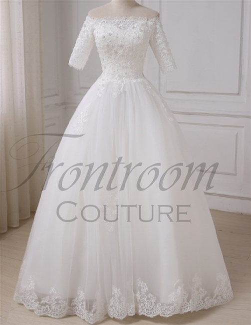 ROSENDA | Elegant Half Sleeves Boat Neck Applique Pearls Tulle A-line
