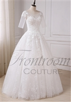 BRI | Scoop Neck 1/2 Sleeve Ball Gown with Corset Back