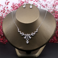 Cubic Zirconia Necklace Earrings Set Clear CZ Stone Wedding Jewelry Sets