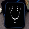 Cubic Zirconia Flower Necklace Earrings Jewellery Sets CZ Zircon Stone Wedding Jewelry Sets Pear and Marquis Cut