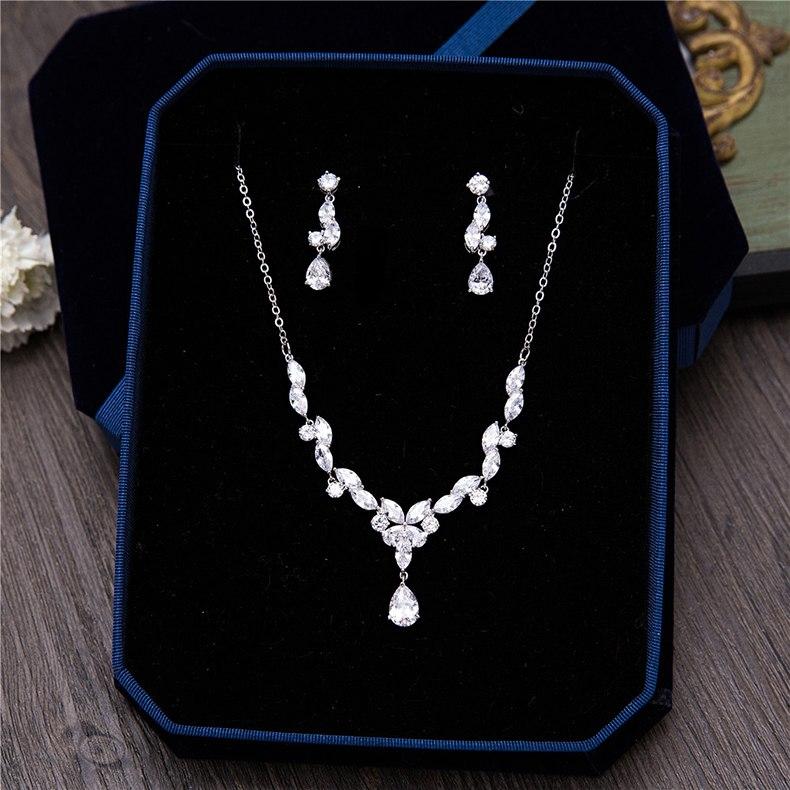 Cubic Zirconia Flower Necklace Earrings Jewellery Sets Cz Zircon