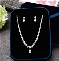Cubic Zirconia Round Shape Necklace Stud Earrings Pear Pendant Women Jewelry Sets for Wedding