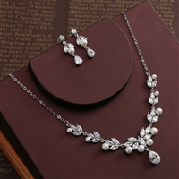 Floral Design Zircon Jewelry Sets Marquise Cut Cubic Zirconia Necklace Earrings Bijoux