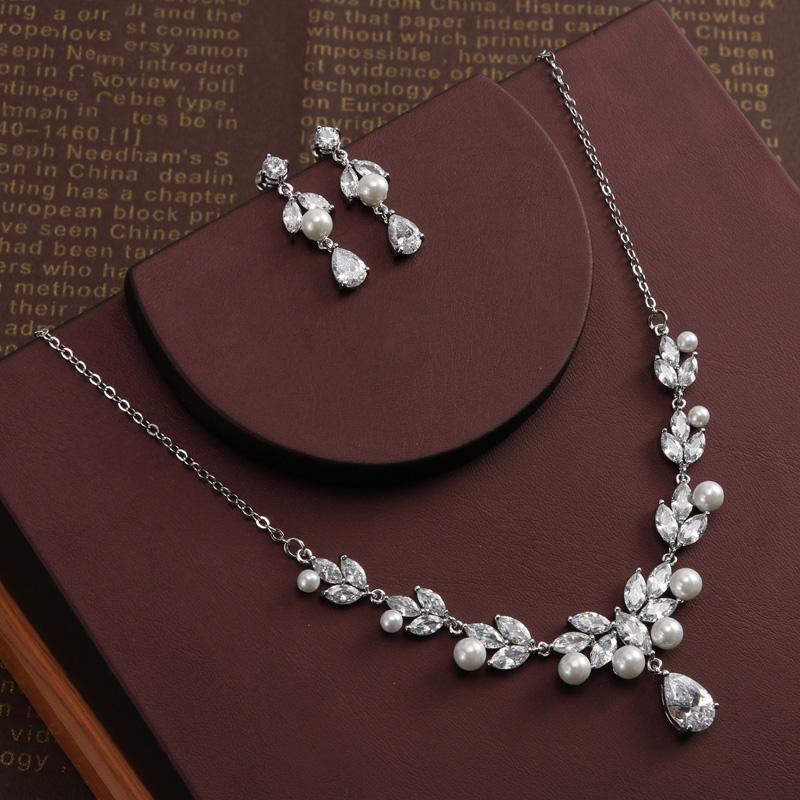 Fl Design Zircon Jewelry Sets Marquise Cut Cubic Zirconia Necklace Earrings Bijoux
