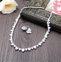Cubic Zirconia Heart-shaped Women Necklace Choker Stud Earrings Brides Wedding Jewelry Sets