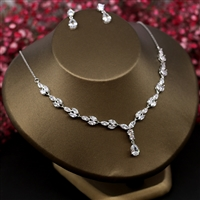 Zircon Stone Necklace Earrings Wedding Engagement Jewelry Sets Handmade Cubic Zirconia Y Shape Choker Pendant