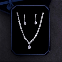 New 2pcs/set Cubic Zirconia Jewelry Sets AAA Zircon Necklace Pendant Pear Cut Drop Earrings Women Wedding Evening Parure Bijoux